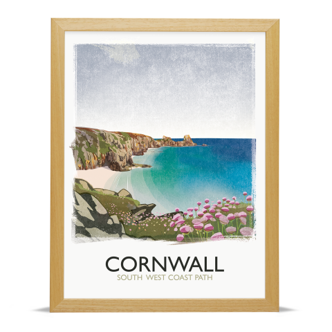 Place in Print Rick Smith Cornwall01 Travel Poster Art Print 30x40cm Wood Frame