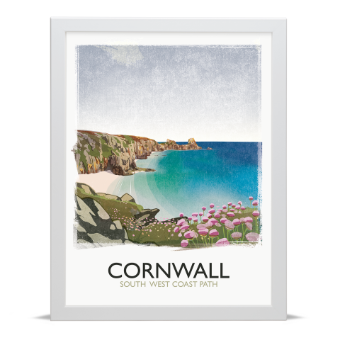Place in Print Rick Smith Cornwall01 Travel Poster Art Print 30x40cm White Frame
