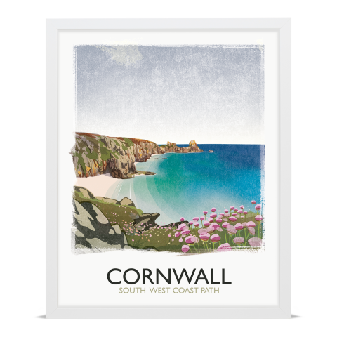 Place in Print Rick Smith Cornwall01 Travel Poster Art Print 40x50cm White Frame