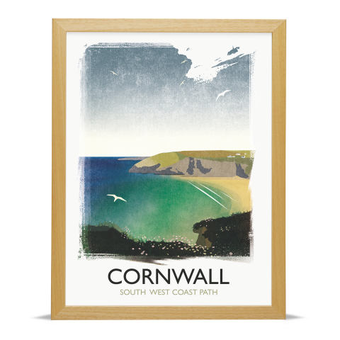Place in Print Rick Smith Cornwall02 Travel Poster Art Print 30x40cm Wood Frame
