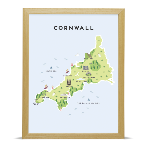 Place in Print Pepper Pot Studios Cornwall Illustrated Map Art Print Wood Frame