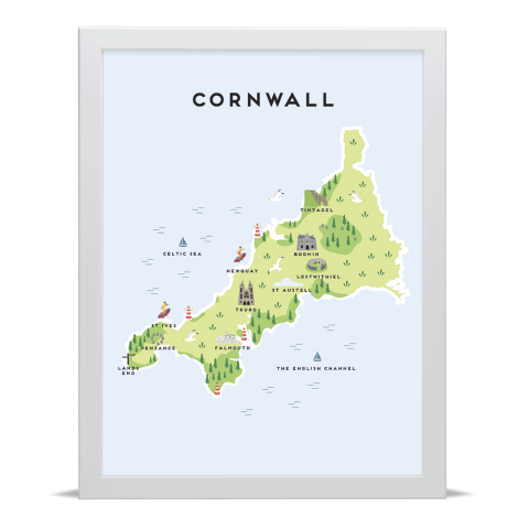 Place in Print Pepper Pot Studios Cornwall Illustrated Map Art Print White Frame