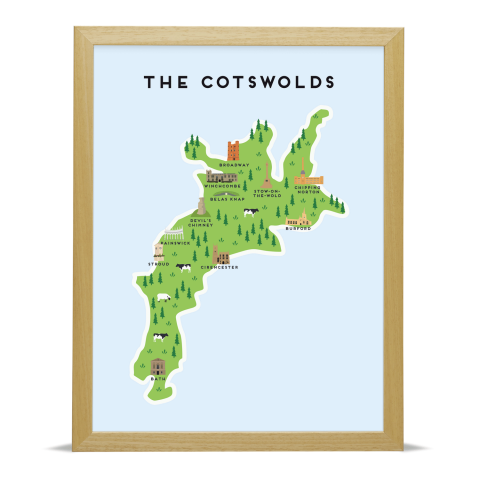 Place in Print Pepper Pot Studios The Cotswolds Illustrated Map Art Print Wood Frame