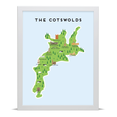 Place in Print Pepper Pot Studios The Cotswolds Illustrated Map Art Print White Frame