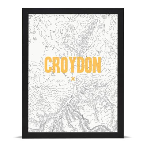 Place in Print Croydon Contours Gold Art Print Black Frame