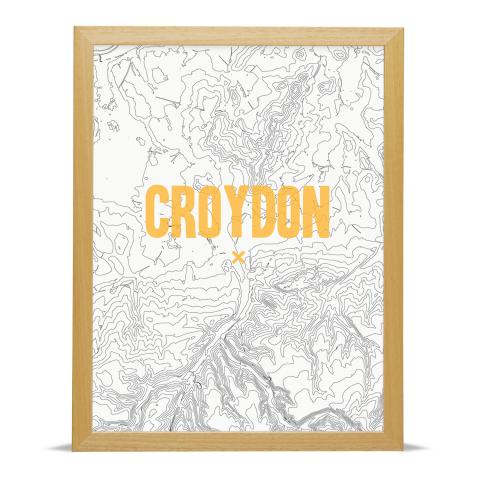 Place in Print Croydon Contours Gold Art Print Wood Frame