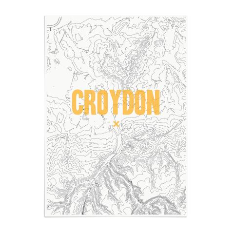 Place in Print Croydon Contours Gold Art Print Unframed