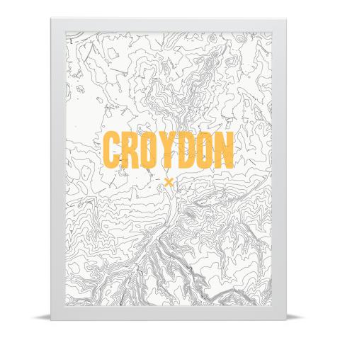 Place in Print Croydon Contours Gold Art Print White Frame
