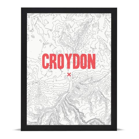 Place in Print Croydon Contours Red Art Print Black Frame