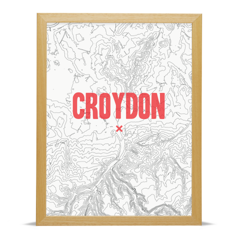 Place in Print Croydon Contours Red Art Print Wood Frame
