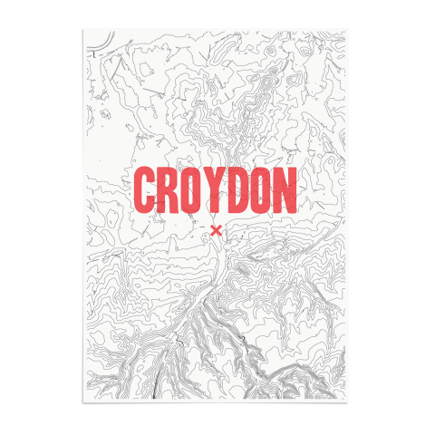 Place in Print Croydon Contours Red Art Print Unframed