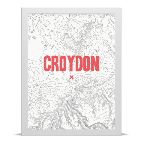 Place in Print Croydon Contours Red Art Print White Frame