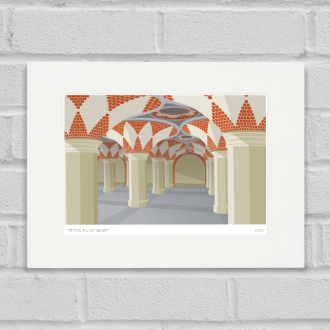 South London Prints Crystal Palace Subway Art Poster Print Mounted