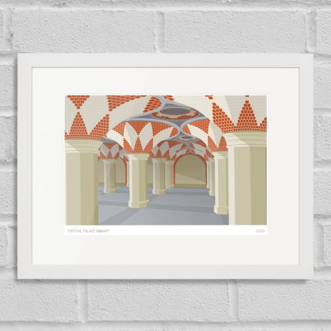 South London Prints Crystal Palace Subway Art Poster Print White Frame