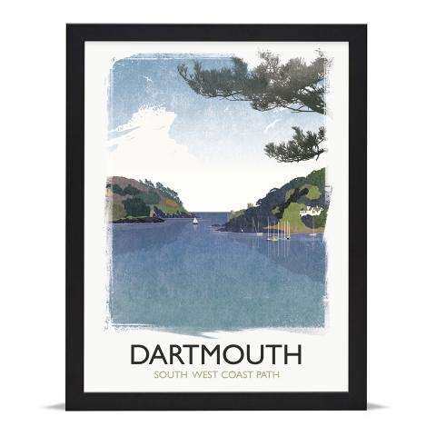 Place in Print Rick Smith Dartmouth Travel Poster Art Print 30x40cm Black Frame