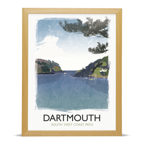 Place in Print Rick Smith Dartmouth Travel Poster Art Print 30x40cm Wood Frame
