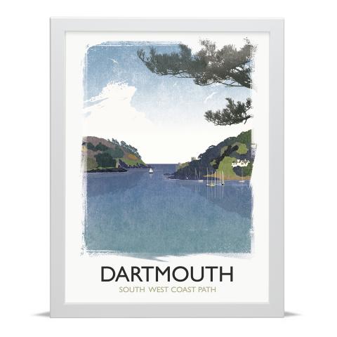 Place in Print Rick Smith Dartmouth Travel Poster Art Print 30x40cm White Frame