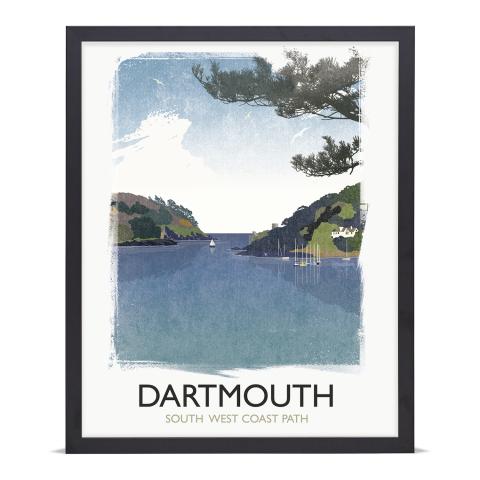 Place in Print Rick Smith Dartmouth Travel Poster Art Print 40x50cm Black Frame