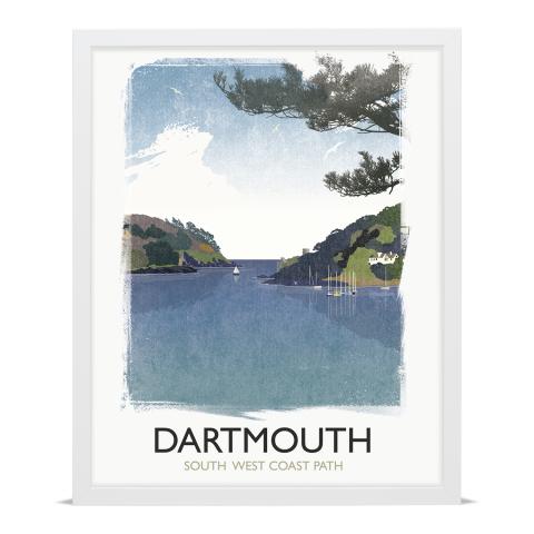 Place in Print Rick Smith Dartmouth Travel Poster Art Print 40x50cm White Frame
