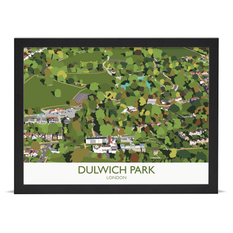 Place in Print Dulwich Park Aerial View Art Print Black Frame No Mount