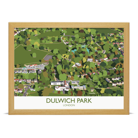 Place in Print Dulwich Park Aerial View Art Print Wood Frame No Mount