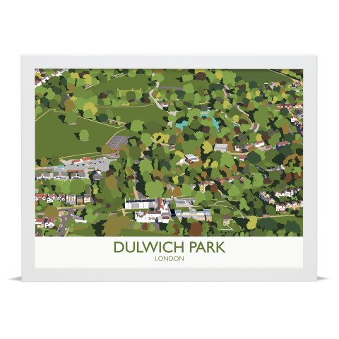 Place in Print Dulwich Park Aerial View Art Print White Frame No Mount
