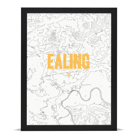 Place in Print Ealing Contours Gold Art Print Black Frame