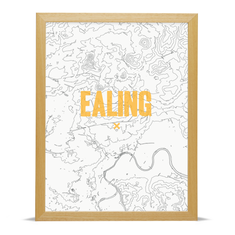 Place in Print Ealing Contours Gold Art Print Wood Frame