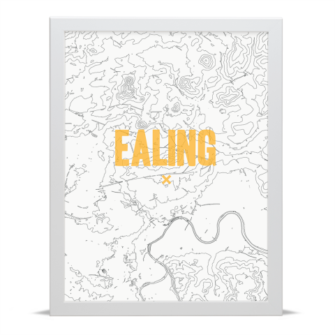 Place in Print Ealing Contours Gold Art Print White Frame