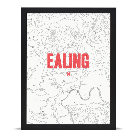 Place in Print Ealing Contours Red Art Print Black Frame