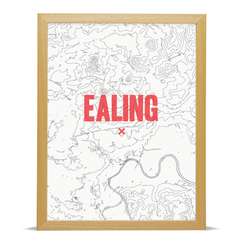 Place in Print Ealing Contours Red Art Print Wood Frame