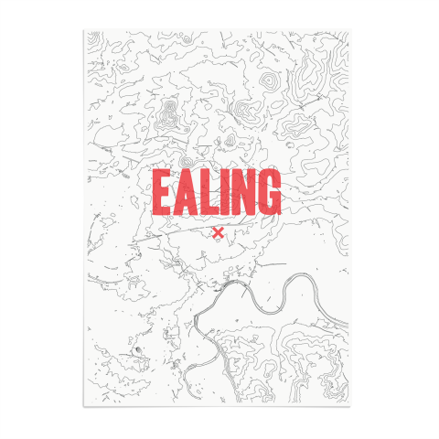 Place in Print Ealing Contours Red Art Print Unframed
