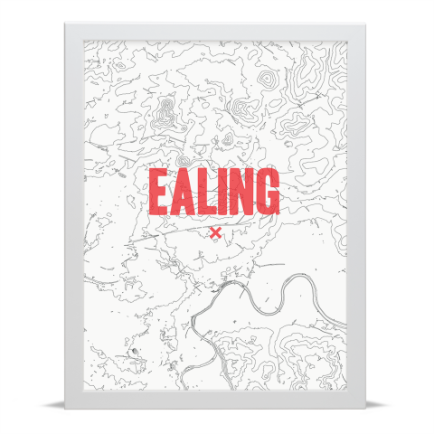 Place in Print Ealing Contours Red Art Print White Frame