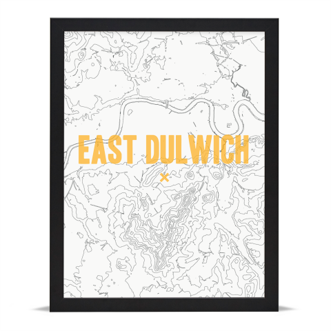 Place in Print East Dulwich Contours Gold Art Print Black Frame