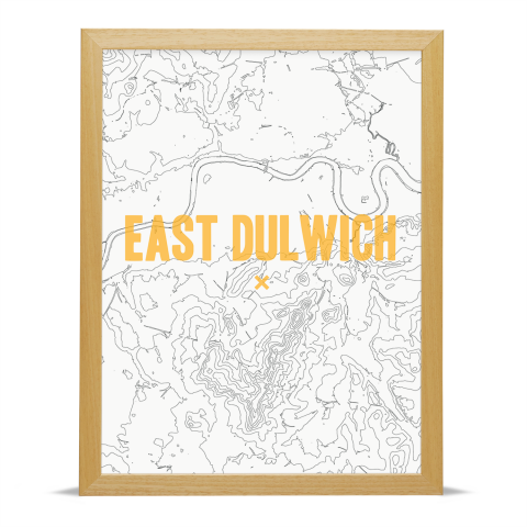 Place in Print East Dulwich Contours Gold Art Print Wood Frame
