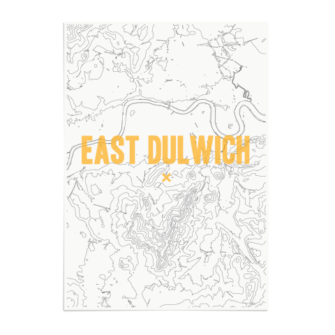 Place in Print East Dulwich Contours Gold Art Print Unframed