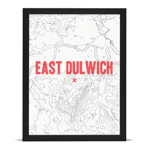 Place in Print East Dulwich Contours Red Art Print Black Frame