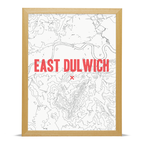 Place in Print East Dulwich Contours Red Art Print Wood Frame