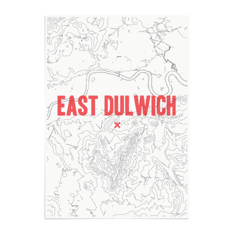Place in Print East Dulwich Contours Red Art Print Unframed