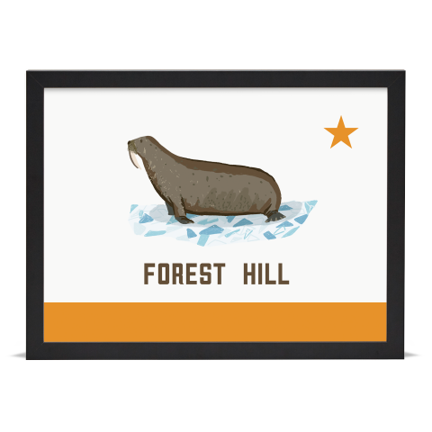 Place in Print Forest Hill Walrus Flag Art Print Black Frame