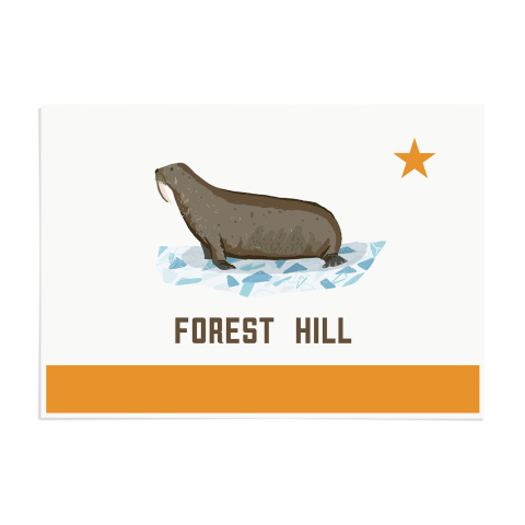 Place in Print Forest Hill Walrus Flag Art Print Unframed