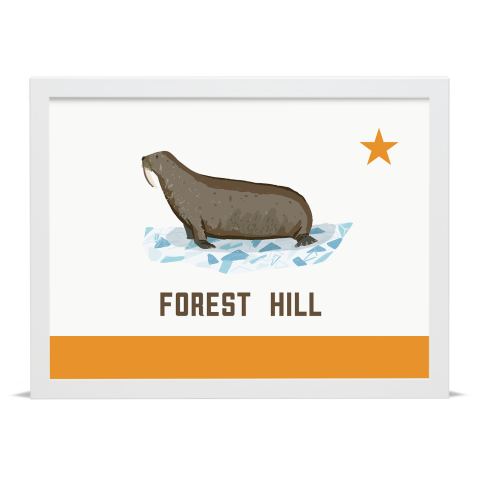Place in Print Forest Hill Walrus Flag Art Print White Frame