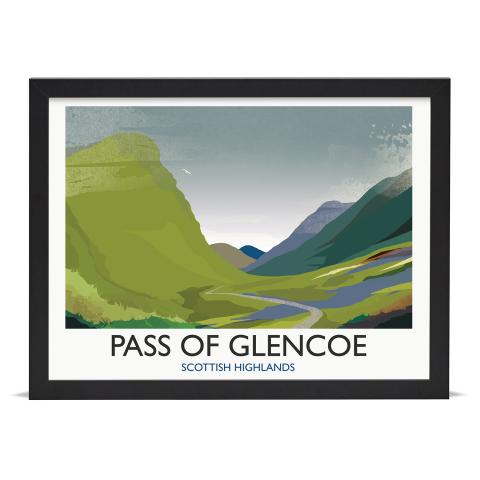 Place in Print Rick Smith Glencoe Travel Poster Art Print 30x40cm Black Frame