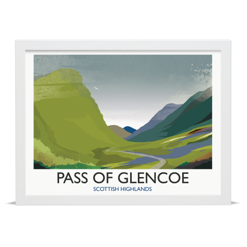 Place in Print Rick Smith Glencoe Travel Poster Art Print 30x40cm White Frame