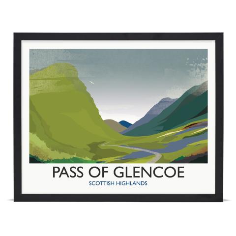 Place in Print Rick Smith Glencoe Travel Poster Art Print 40x50cm Black Frame