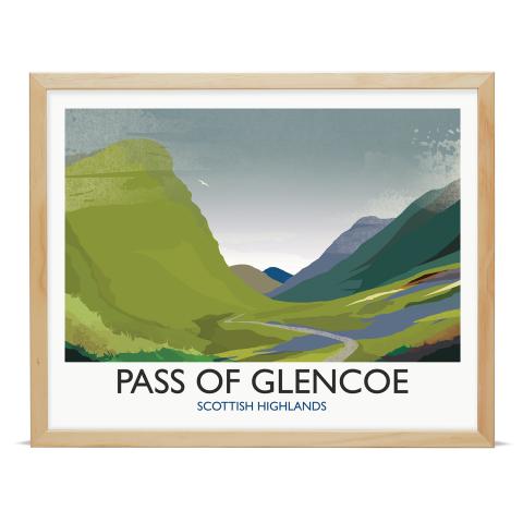 Place in Print Rick Smith Glencoe Travel Poster Art Print 40x50cm Wood Frame