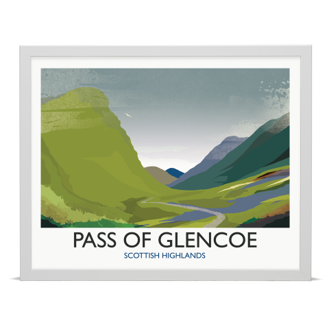 Place in Print Rick Smith Glencoe Travel Poster Art Print 40x50cm White Frame