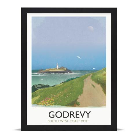 Place in Print Rick Smith Godrevy Travel Poster Art Print 30x40cm Black Frame