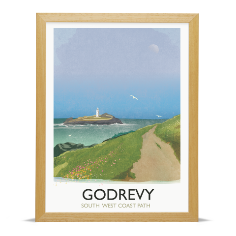 Place in Print Rick Smith Godrevy Travel Poster Art Print 30x40cm Wood Frame