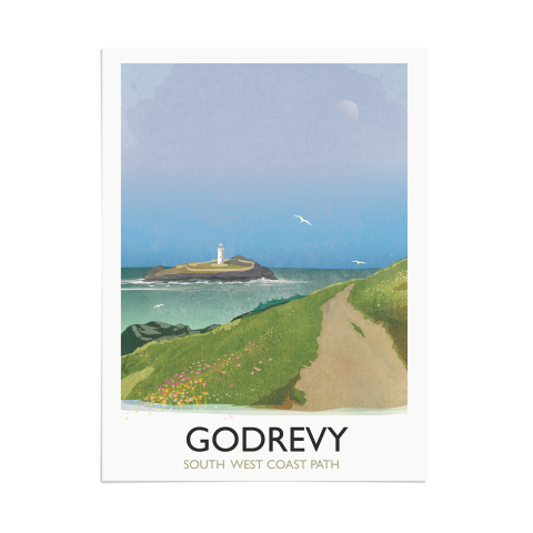 Place in Print Rick Smith Godrevy Travel Poster Art Print 30x40cm Print-only